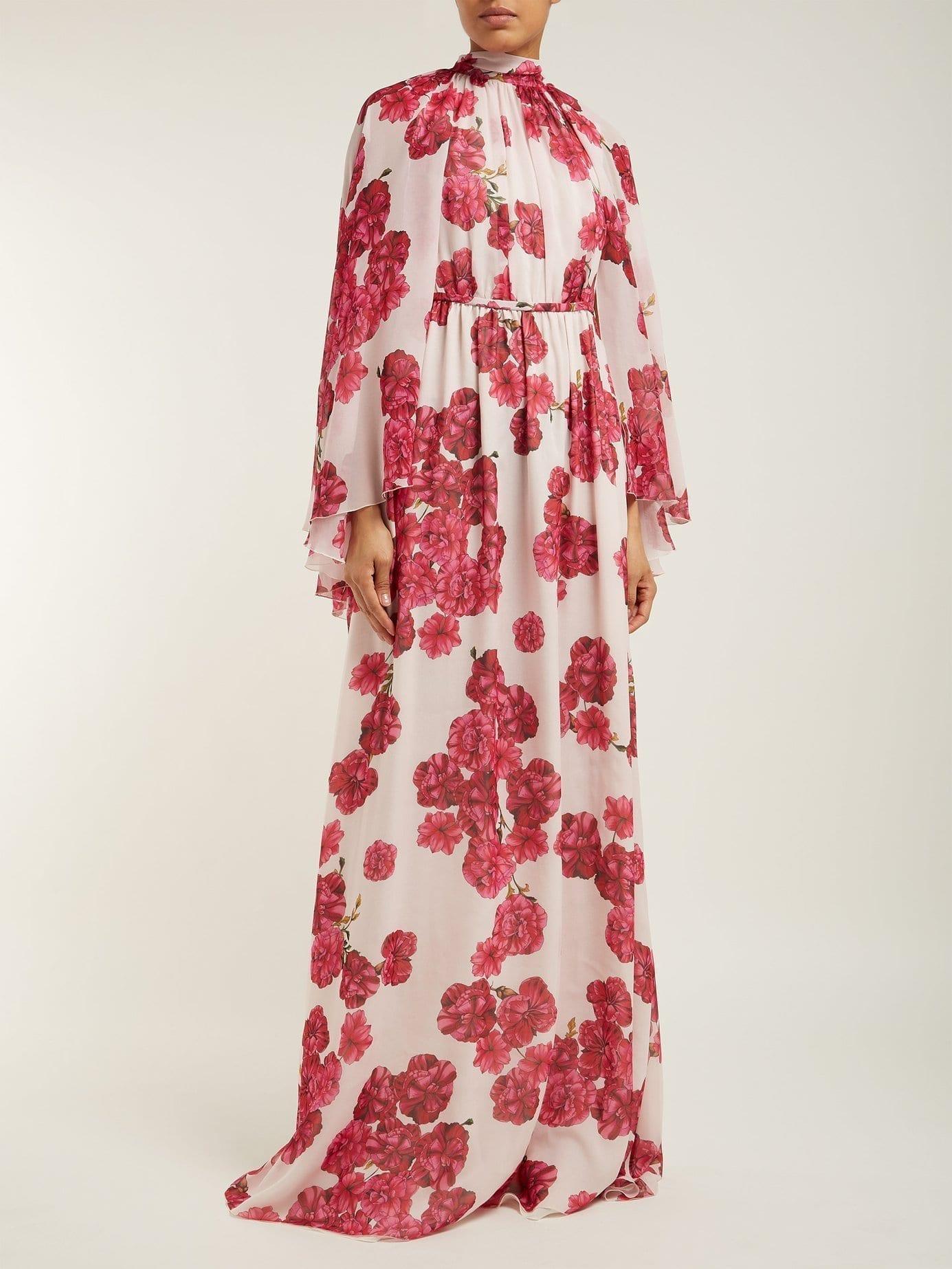 GIAMBATTISTA VALLI Peony-print Silk-georgette Pink Gown