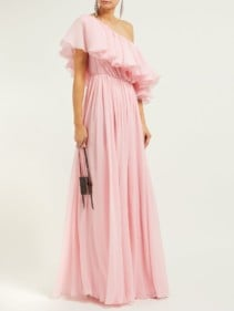 GIAMBATTISTA VALLI Ruffled One-shoulder Silk Crepe De Chine Light Pink Gown