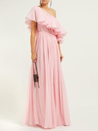 GIAMBATTISTA VALLI Ruffled One-shoulder Silk Crepe De Chine Light Pink Gown