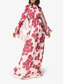 GIAMBATTISTA VALLI Silk Maxi White / Floral Printed Dress