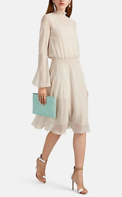 GIORGIO ARMANI Smocked-Collar Silk Chiffon Blouson Cream Dress