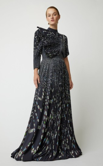 GIVENCHY Asymmetric Floral-Print Pleated Silk Navy Gown