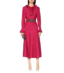 GUCCI Belted Silk Twill Midi Pink Dress