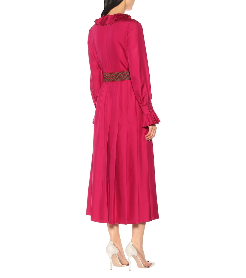 fad470c6c GUCCI Belted Silk Twill Midi Pink Dress - We Select Dresses
