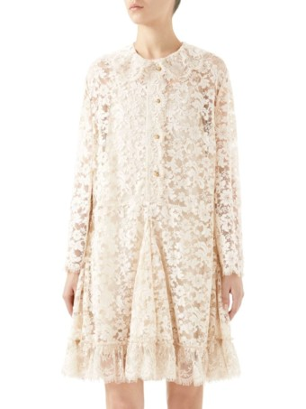 GUCCI Lace Flare Hem Almond Dress