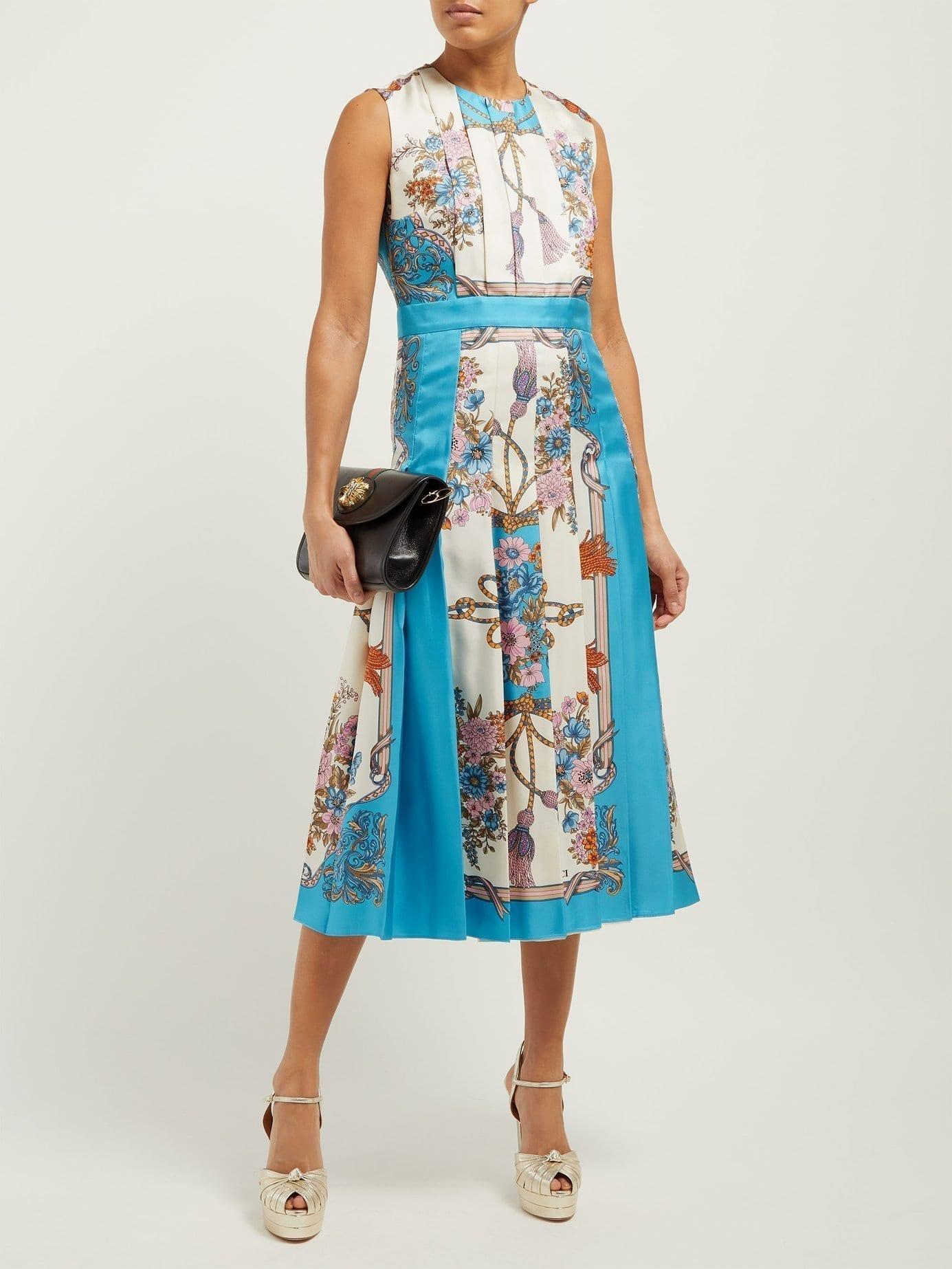 cb86b68e3 GUCCI Pleated Intrigue-Print Silk Midi Dress - We Select Dresses