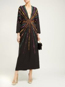 GUCCI Sunray-sequinned Silk-crepe Black Gown