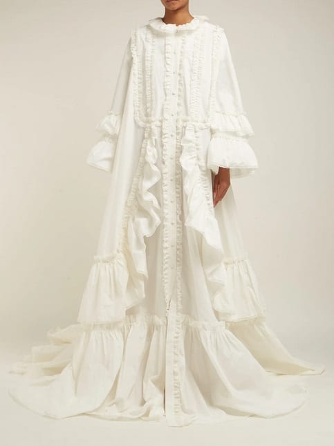 GUCCI Ruffle-Trimmed Cotton-Poplin White Gown