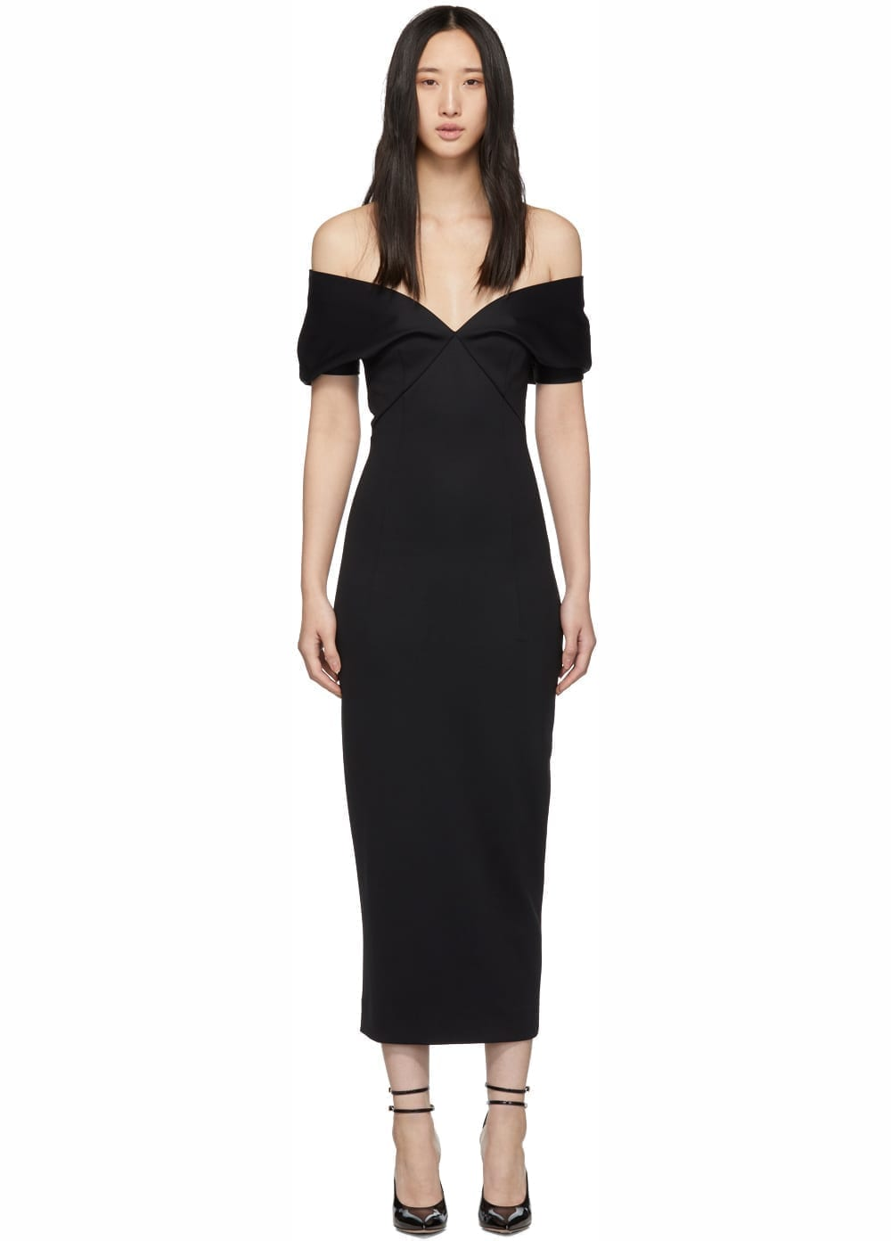 HAIDER ACKERMANN Mankora Off-Shoulder Black Dress