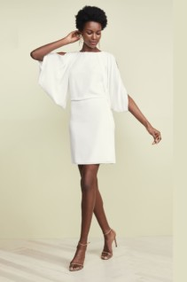 HALSTON HERITAGE Cape Sleeve Open Back White Dress