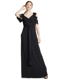 HALSTON HERITAGE Flutter Black Gown