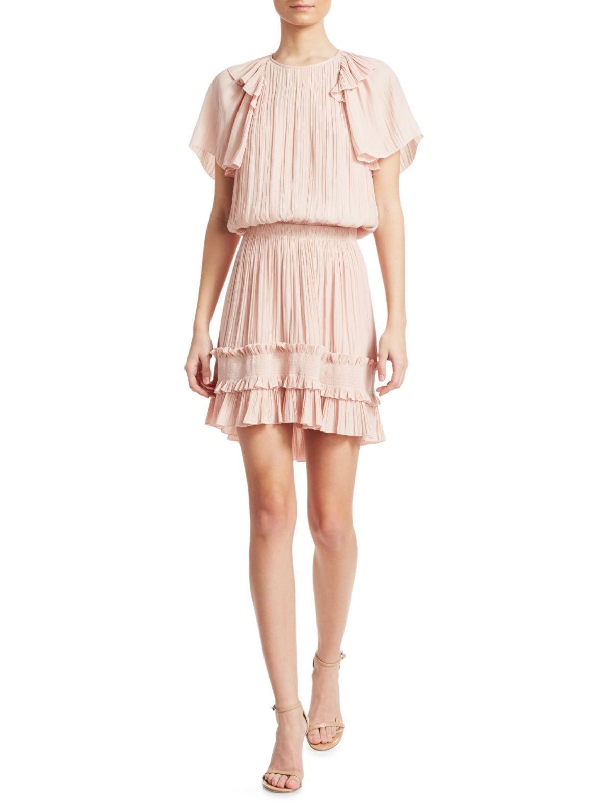 236826bb913d HALSTON HERITAGE Short-Sleeve Pleated Georgette Pink Dress - We ...