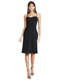 HALSTON HERITAGE Strip Applique Sleeveless Black Dress