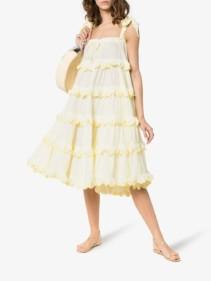 INNIKA CHOO Iva Biigdres Scallop Frill Midi Yellow Dress