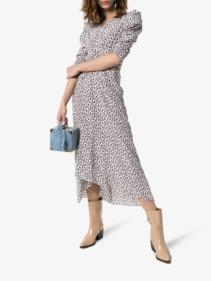 ISABEL MARANT Albi Abstract Print Stretch-silk Midi Off-White Dress