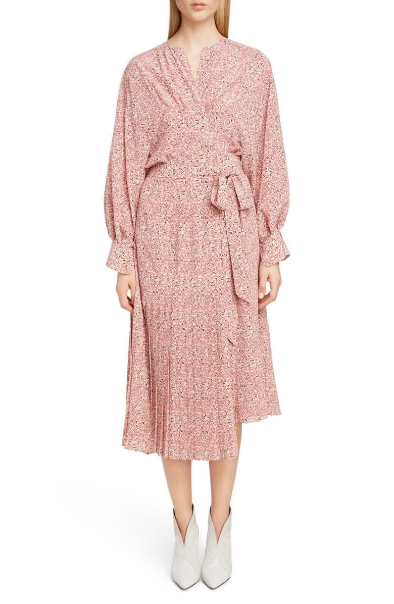 588396669c4 ISABEL MARANT Floral Print Pleated Stretch Silk Wrap Pink Dress - We ...