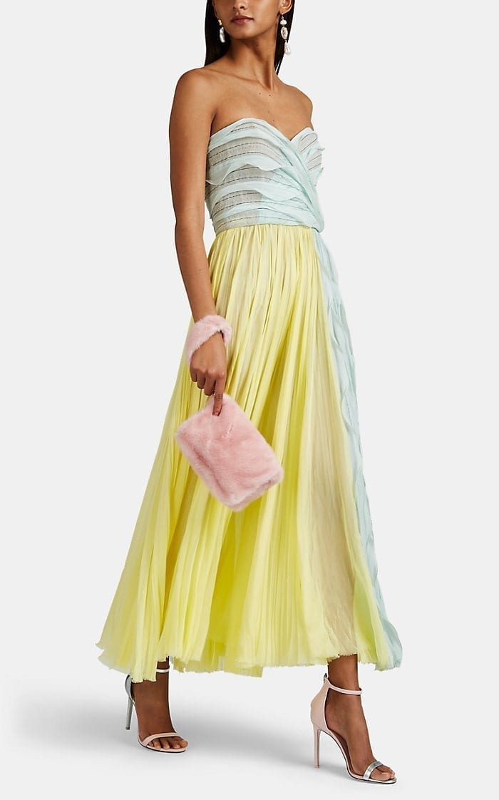 J. MENDEL Silk Plissé Chiffon Cocktail Yellow Dress