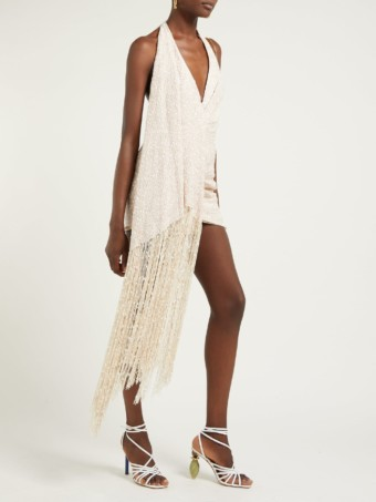 JACQUEMUS Valoria Halterneck Fringed Tweed Biege Dress