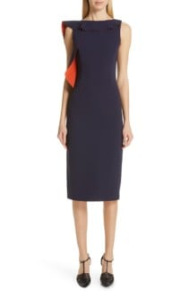 JASON WU COLLECTION Asymmetrical Ruffle Sheath Navy Dress