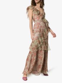 JOHANNA ORTIZ Belle Of The Ball Ruffled Silk Pink / Floral Printed Dress