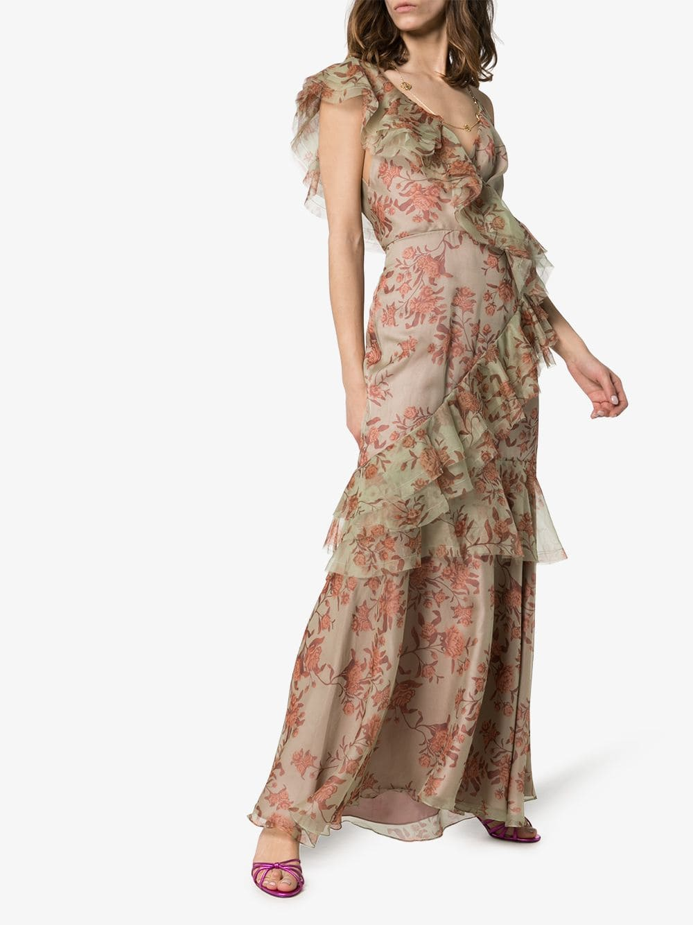 JOHANNA ORTIZ Belle Of The Ball Ruffled Silk Pink / Floral Printed Dress