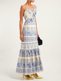 JOHANNA ORTIZ Deep Waters Maxi Blue / Floral Printed Dress