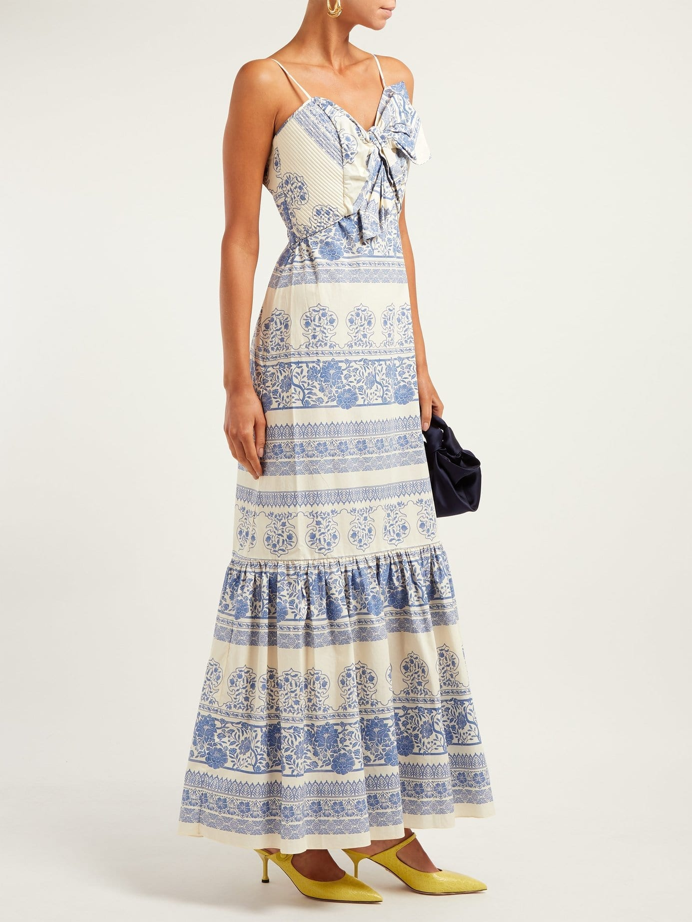 JOHANNA ORTIZ Deep Waters Maxi Blue / Floral Printed Dress
