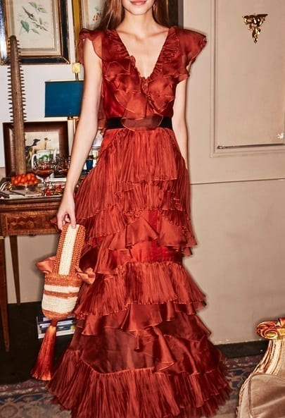 JOHANNA ORTIZ Melancholy Dance Ruffled Silk Organza Orange Gown