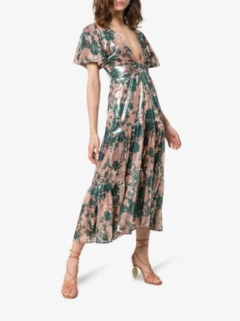 JOHANNA ORTIZ Modern Muse Sequin-embellished Green Dress