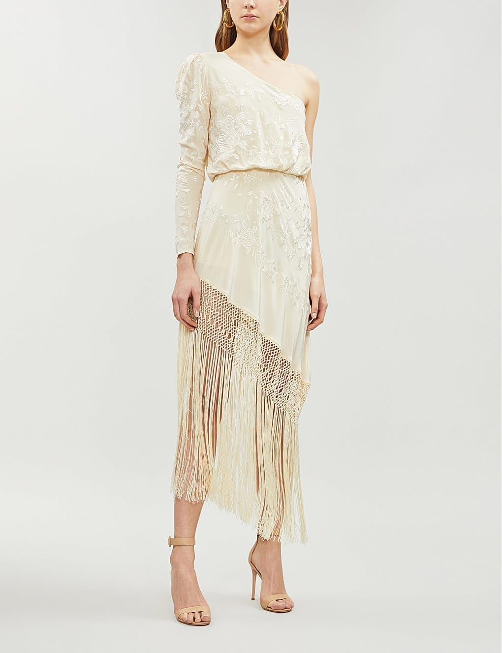 JOHANNA ORTIZ One-Shoulder Asymmetric Fringed Embroidered Silk-Crepe Cream Dress