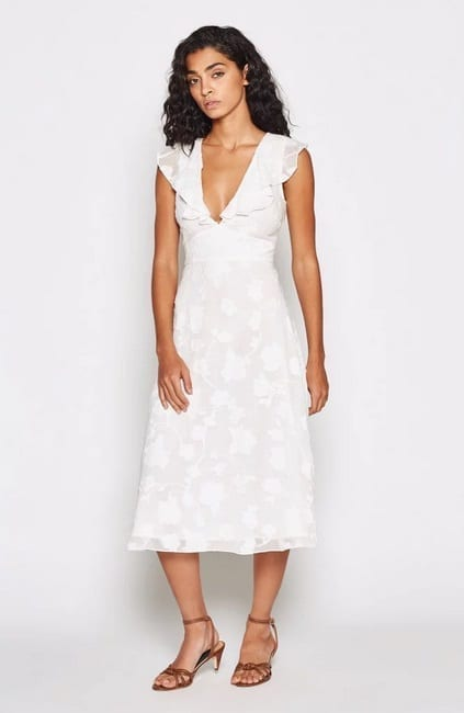 JOIE Adella Floral Ruffled White Dress