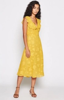 JOIE Adella Floral Ruffled Yellow Dress