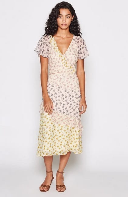 JOIE Orita Silk Ruffled Floral Dress