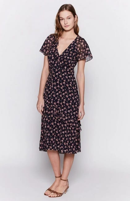 JOIE Orita Silk Ruffled Floral Navy Dress