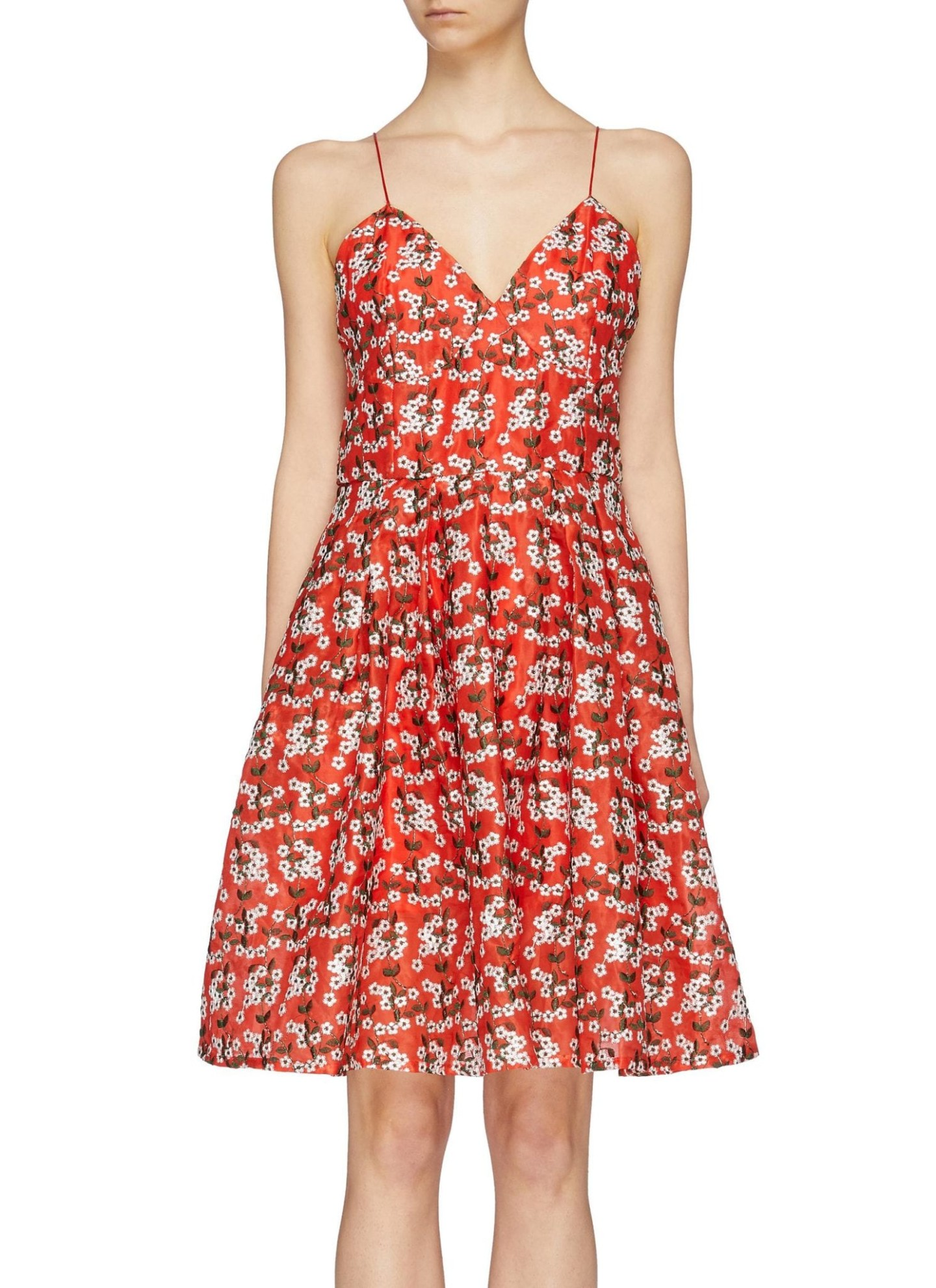 JONATHAN LIANG Floral Embroidered Flared Silk Camisole Red Dress