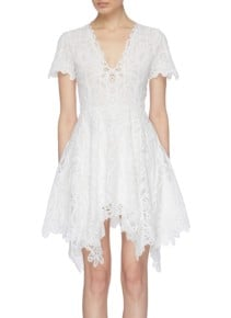 JONATHAN SIMKHAI Guipure Lace V-Neck Mini Handkerchief White Dress