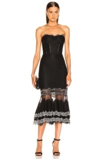 JONATHAN SIMKHAI Multimedia Corded Lace Trumpet Black Dress