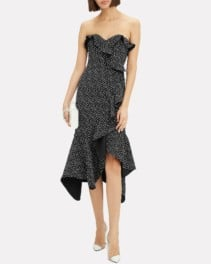 JONATHAN SIMKHAI Speckle Print Asymmetrical Ruffle Black Dress