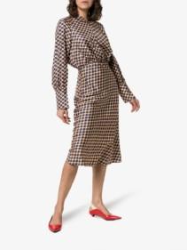 JOSEPH Lucien Checked Silk Midi Multicolored Dress