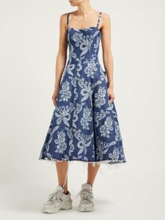 JUNYA WATANABE Floral-embroidered Denim Blue Dress