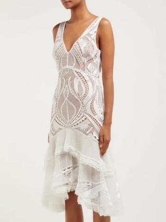 JONATHAN SIMKHAI Guipure Appliqué V-Neck White Dress