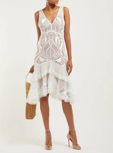 JONATHAN SIMKHAI Guipure Appliqué V-Neck White Dress