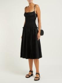 KHAITE Delphine Smocked-bodice Cotton Midi Black Dress
