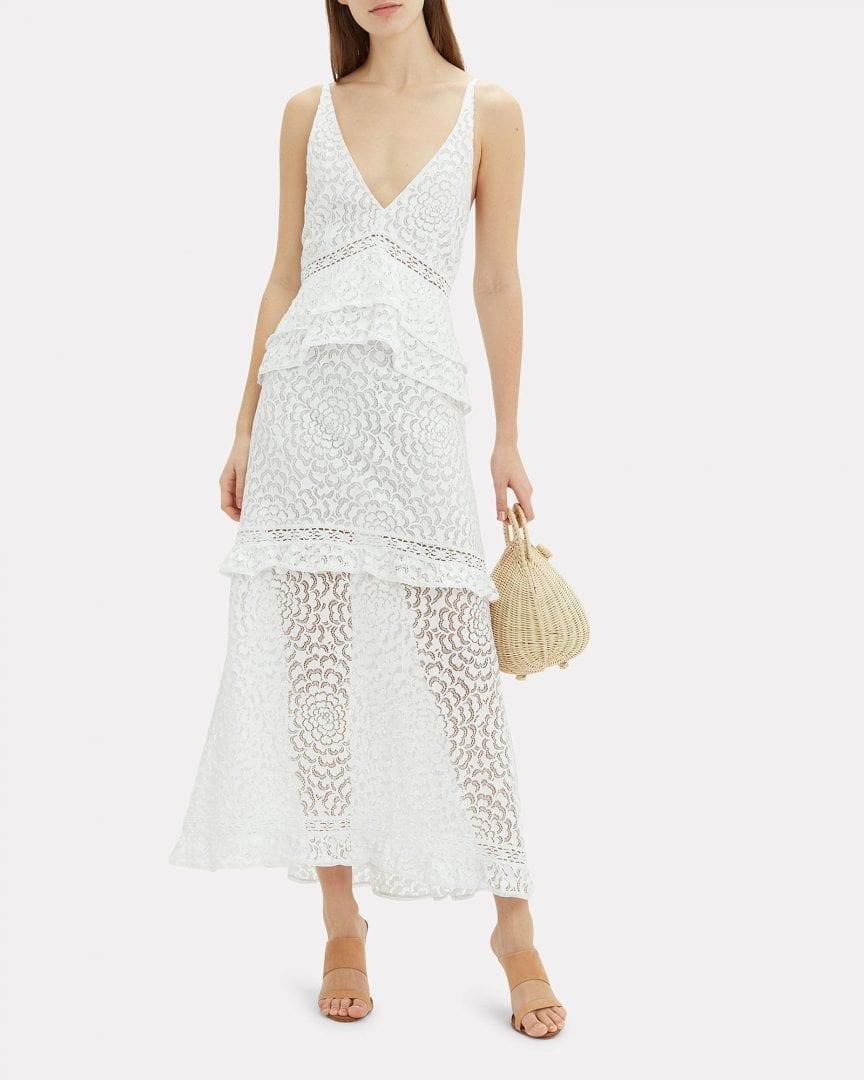 KISUII Helia Floral Lace White Dress