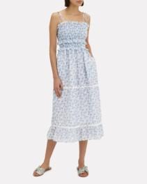 KISUII Luna Tie Shoulder Maxi Blue Floral Dress