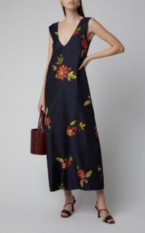 LA DOUBLEJ Floral-Print Silk Navy Dress