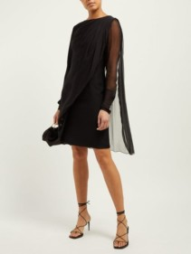 LANVIN Draped Overlay Silk-Chiffon Black Dress