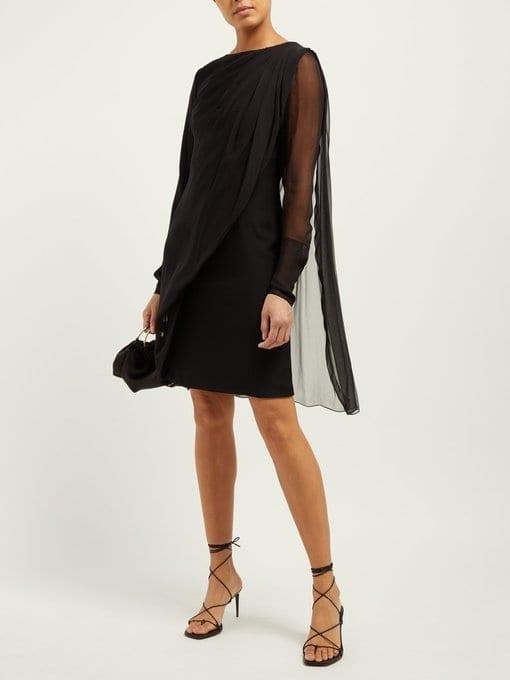 LANVIN Draped Overlay Silk-Chiffon Black Dress
