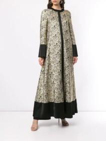 LAYEUR Flared Jacquard Maxi Gold Black Dress