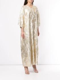 LAYEUR Long Jacquard Silver Dress